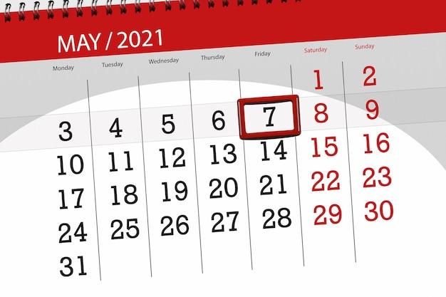 Kalenderplanner voor de maand mei 2021, deadline dag, 7, vrijdag.