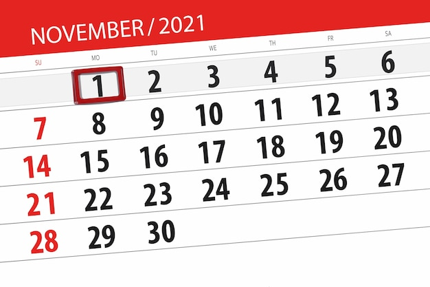 Kalenderplanner voor de maand november 2021, deadline dag, 1, maandag.