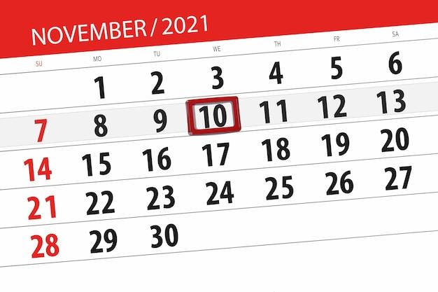 Kalenderplanner voor de maand november 2021, deadline dag, 10, woensdag.