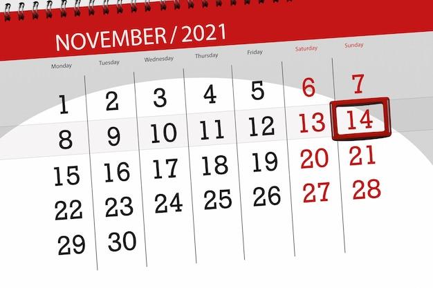 Kalenderplanner voor de maand november 2021, deadline dag, 14, zondag.