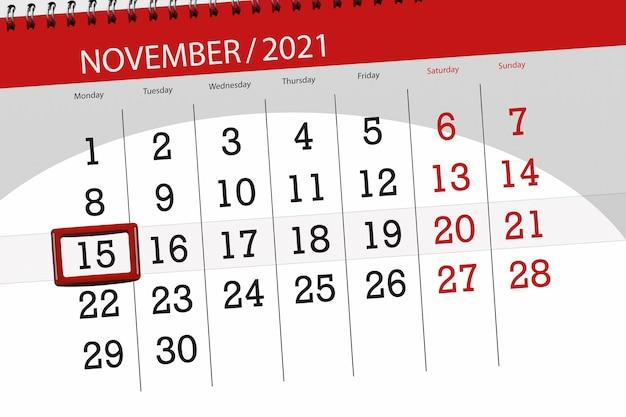 Kalenderplanner voor de maand november 2021, deadline dag, 15, maandag.