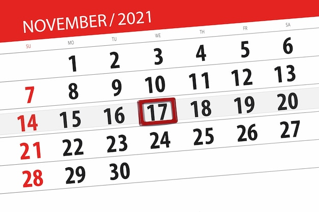 Kalenderplanner voor de maand november 2021, deadline dag, 17, woensdag.