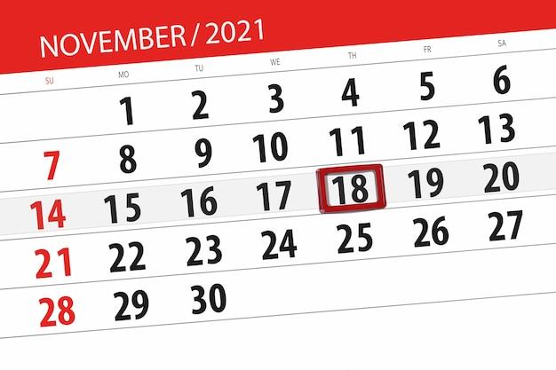 Kalenderplanner voor de maand november 2021, deadline dag, 18, donderdag.