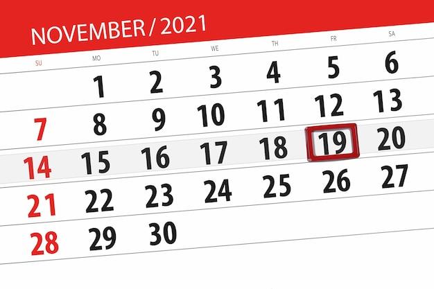 Kalenderplanner voor de maand november 2021, deadline dag, 19, vrijdag.