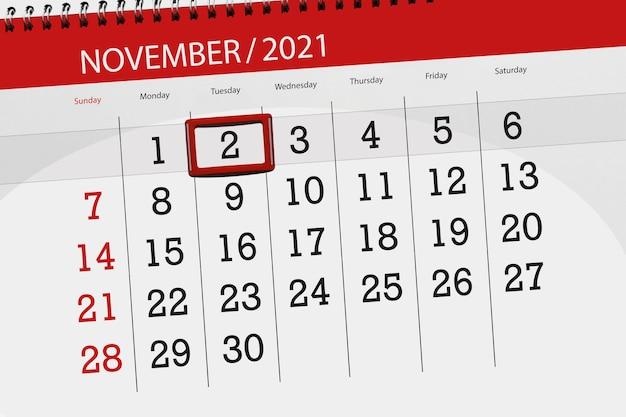 Kalenderplanner voor de maand november 2021, deadline dag, 2, dinsdag.