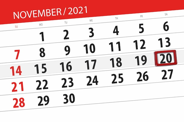 Kalenderplanner voor de maand november 2021, deadline dag, 20, zaterdag.