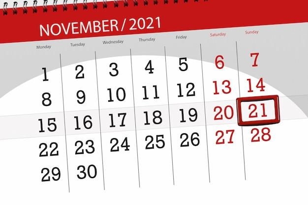 Kalenderplanner voor de maand november 2021, deadline dag, 21, zondag.