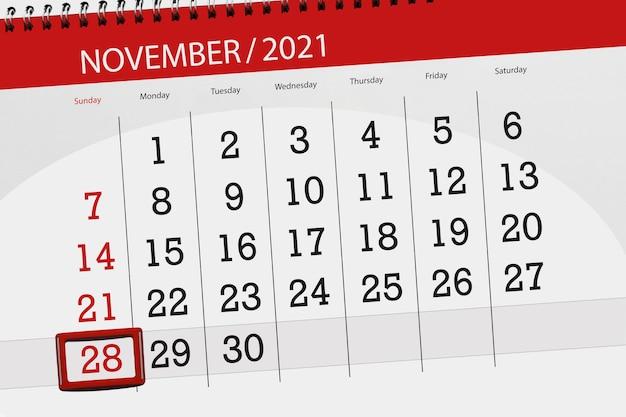 Kalenderplanner voor de maand november 2021, deadline dag, 28, zondag.