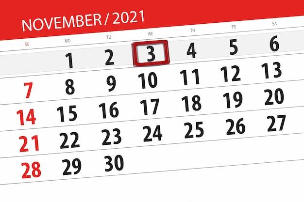 Kalenderplanner voor de maand november 2021, deadline dag, 3, woensdag.