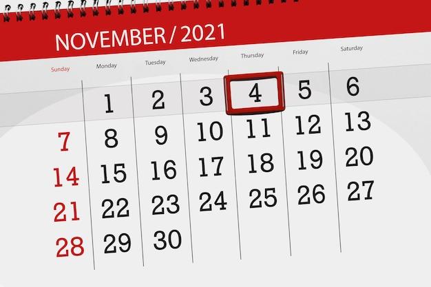 Kalenderplanner voor de maand november 2021, deadline dag, 4, donderdag.