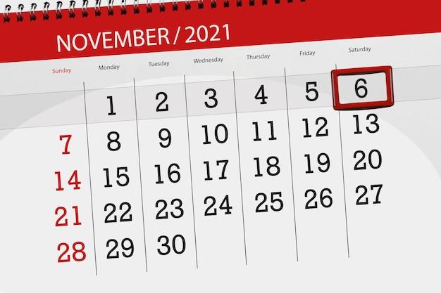 Kalenderplanner voor de maand november 2021, deadline dag, 6, zaterdag.