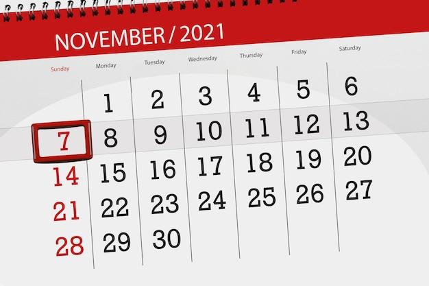 Kalenderplanner voor de maand november 2021, deadline dag, 7, zondag.