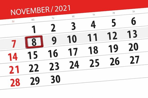 Kalenderplanner voor de maand november 2021, deadline dag, 8, maandag.