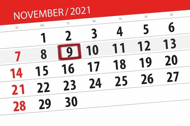 Kalenderplanner voor de maand november 2021, deadline dag, 9, dinsdag.