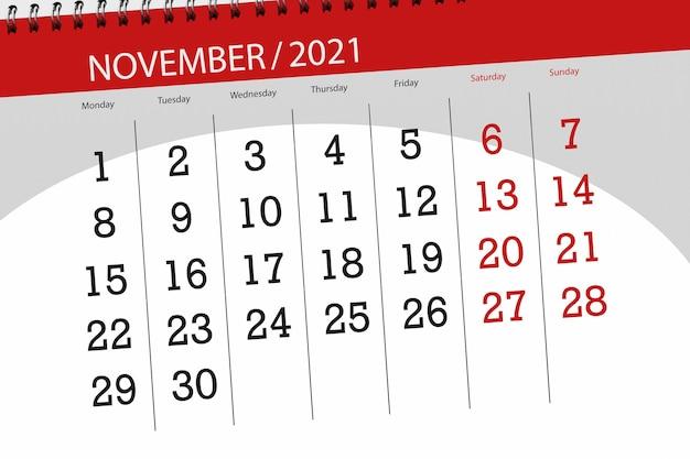 Kalenderplanner voor de maand november 2021, deadline dag.