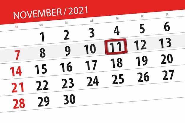Kalenderplanner voor de maand november 2021, deadline day, 11, donderdag.