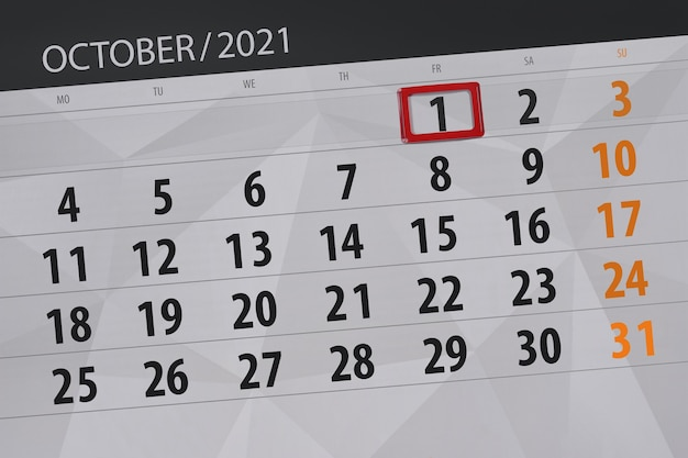 Kalenderplanner voor de maand oktober 2021, deadline dag, 1, vrijdag.