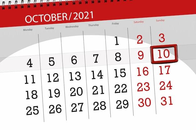 Kalenderplanner voor de maand oktober 2021, deadline dag, 10, zondag.