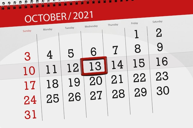 Kalenderplanner voor de maand oktober 2021, deadline dag, 13, woensdag.