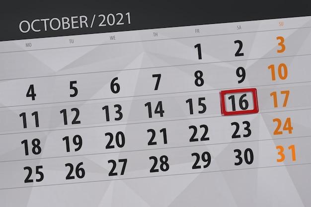 Kalenderplanner voor de maand oktober 2021, deadline dag, 16, zaterdag.