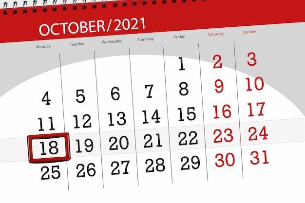 Kalenderplanner voor de maand oktober 2021, deadline dag, 18, maandag.