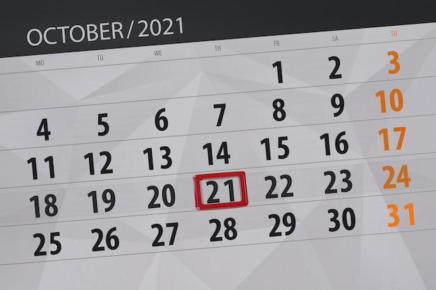 Kalenderplanner voor de maand oktober 2021, deadline dag, 21, donderdag.