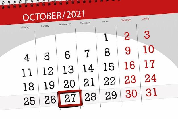Kalenderplanner voor de maand oktober 2021, deadline dag, 27, woensdag.