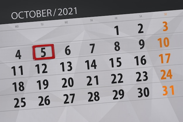 Kalenderplanner voor de maand oktober 2021, deadline dag, 5, dinsdag.