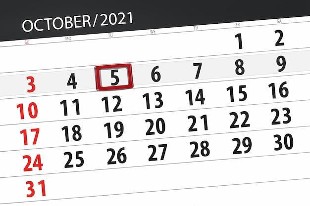 Kalenderplanner voor de maand oktober 2021, deadline dag, 5, dinsdag. Premium Foto