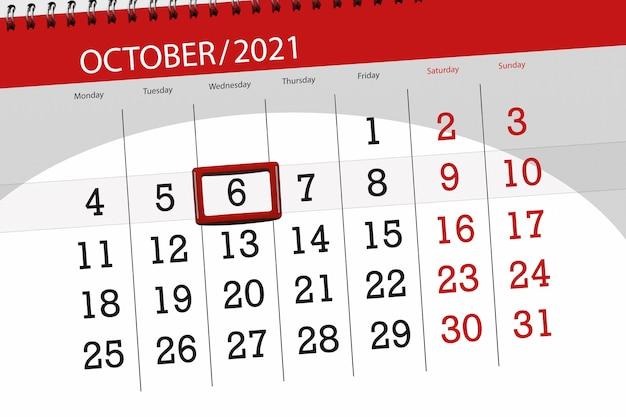 Kalenderplanner voor de maand oktober 2021, deadline dag, 6, woensdag.