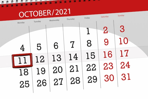 Kalenderplanner voor de maand oktober 2021, deadline day, 11, maandag.
