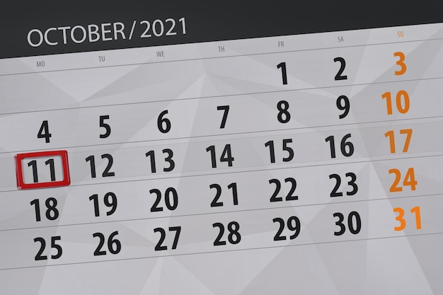 Kalenderplanner voor de maand oktober 2021, deadline day, 11, maandag. Premium Foto