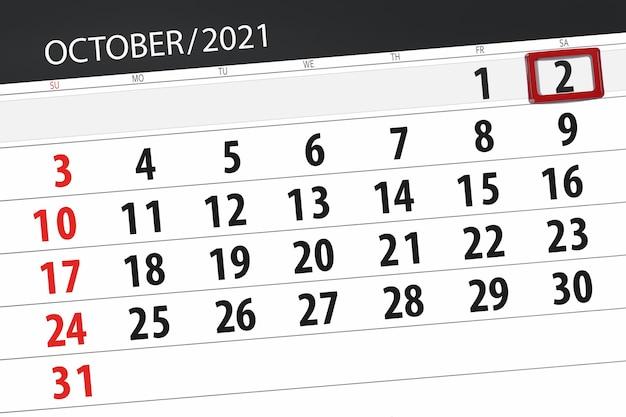 Kalenderplanner voor de maand oktober 2021, deadline day, 2, zaterdag.