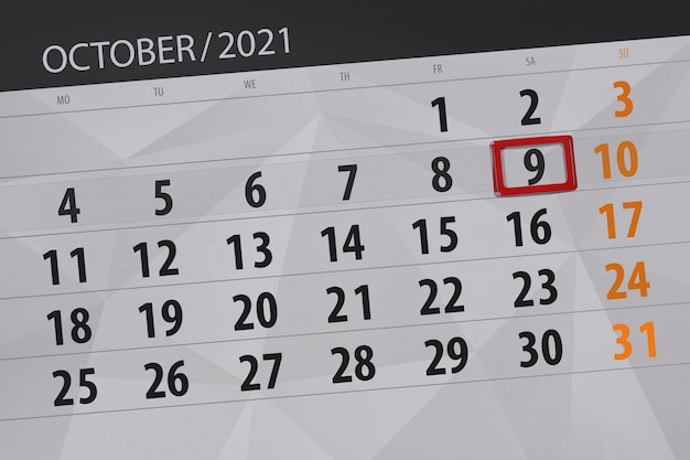 Kalenderplanner voor de maand oktober 2021, deadline day, 9, zaterdag.