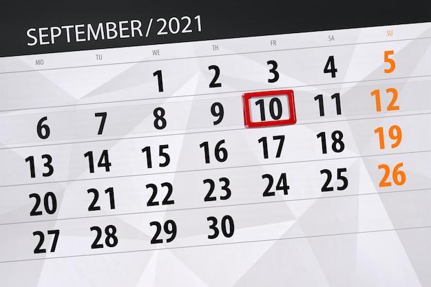 Kalenderplanner voor de maand september 2021, deadline dag, 10, vrijdag.