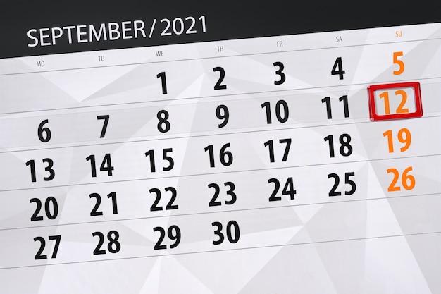 Kalenderplanner voor de maand september 2021, deadline dag, 12, zondag. Premium Foto