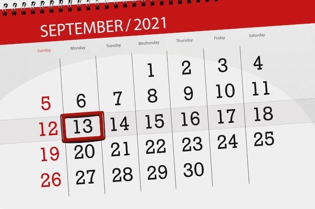 Kalenderplanner voor de maand september 2021, deadline dag, 13, maandag.