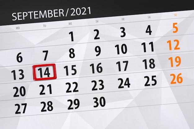 Kalenderplanner voor de maand september 2021, deadline dag, 14, dinsdag.