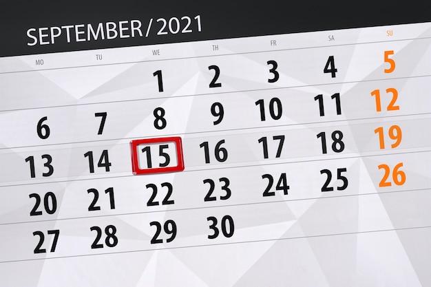 Kalenderplanner voor de maand september 2021, deadline dag, 15, woensdag.