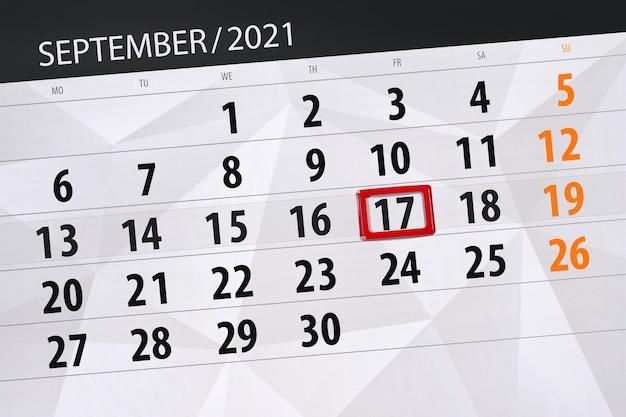 Kalenderplanner voor de maand september 2021, deadline dag, 17, vrijdag.