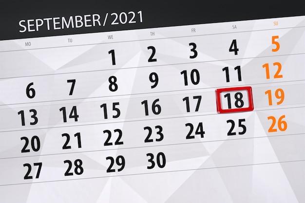 Kalenderplanner voor de maand september 2021, deadline dag, 18, zaterdag.