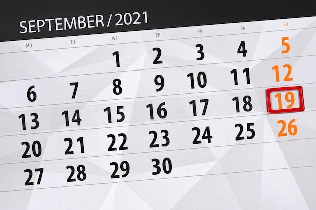 Kalenderplanner voor de maand september 2021, deadline dag, 19, zondag.