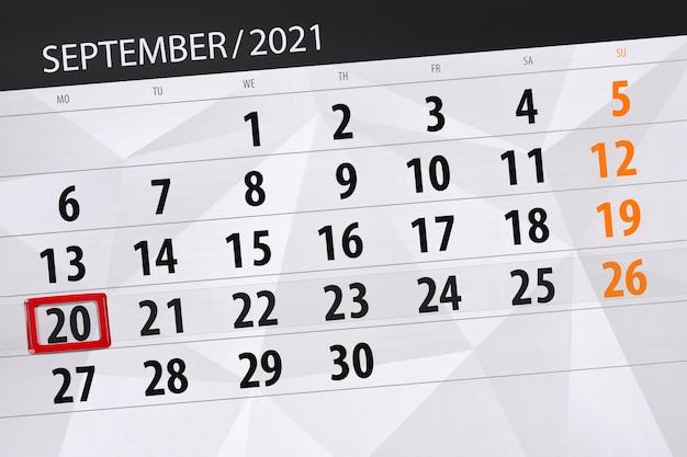 Kalenderplanner voor de maand september 2021, deadline dag, 20, maandag.