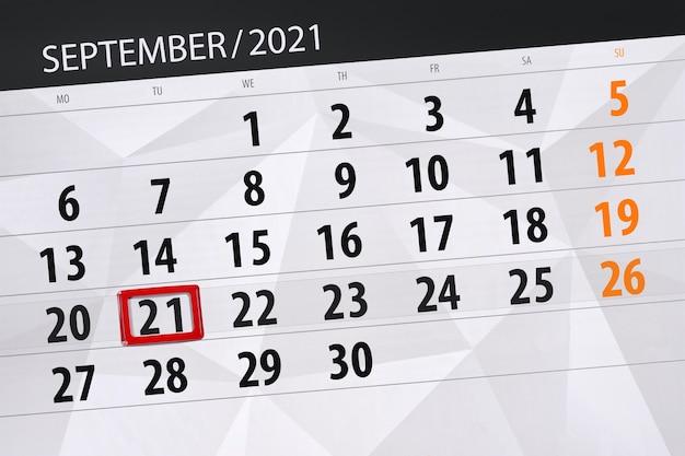 Kalenderplanner voor de maand september 2021, deadline dag, 21, dinsdag.