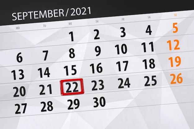Kalenderplanner voor de maand september 2021, deadline dag, 22, woensdag.