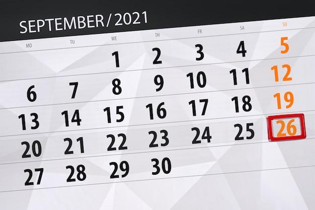 Kalenderplanner voor de maand september 2021, deadline dag, 26, zondag.