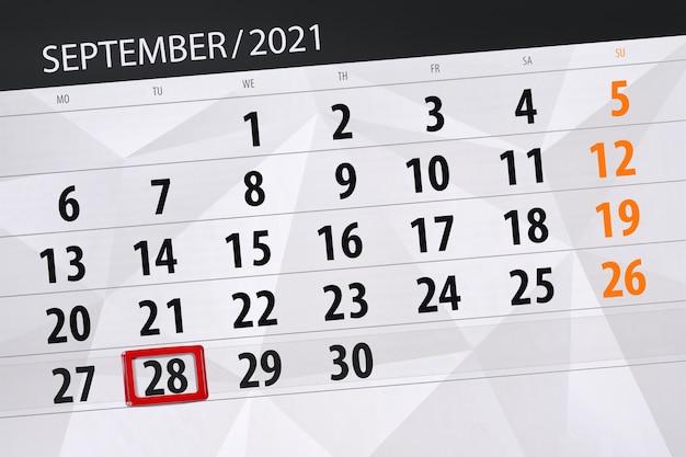 Kalenderplanner voor de maand september 2021, deadline dag, 28, dinsdag.