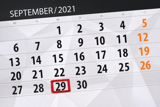 Kalenderplanner voor de maand september 2021, deadline dag, 29, woensdag.