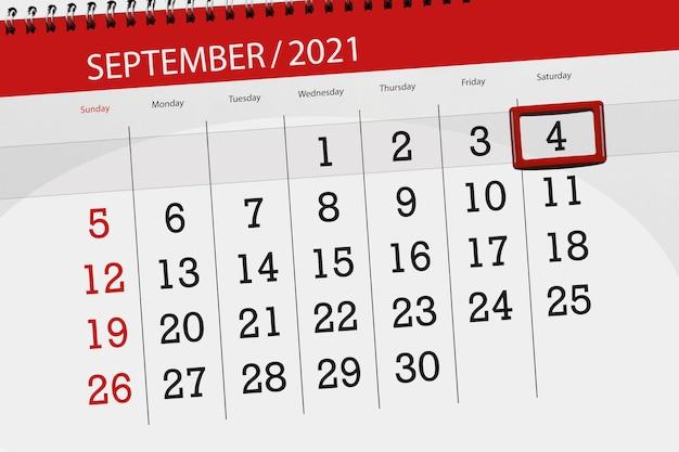 Kalenderplanner voor de maand september 2021, deadline dag, 4, zaterdag.