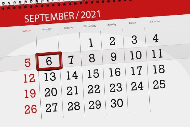 Kalenderplanner voor de maand september 2021, deadline dag, 6, maandag.